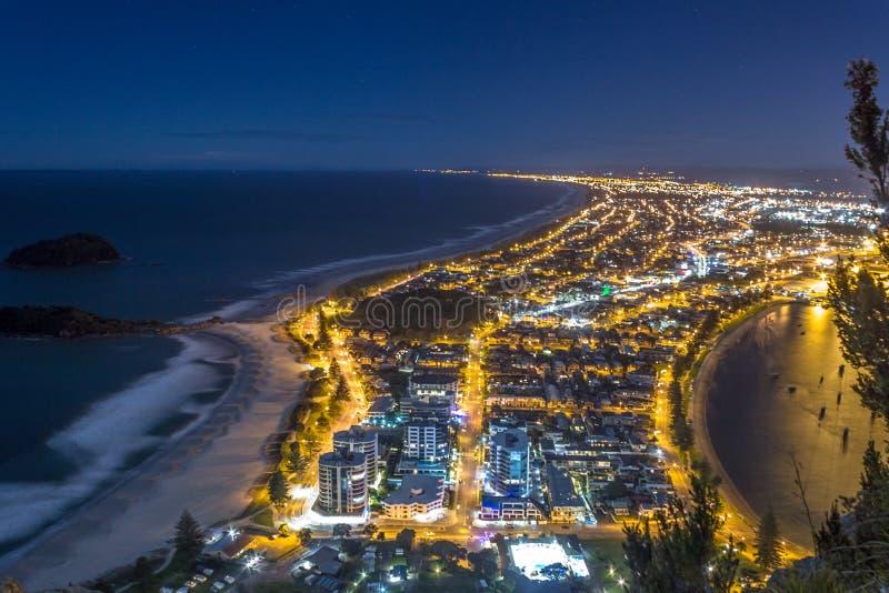 Πανοραμική άποψη της πόλης και του κόλπου Tauranga, κόλπος της αφθονίας, βόρειο νησί, Νέα Ζηλανδία στοκ φωτογραφία με δικαίωμα ελεύθερης χρήσης