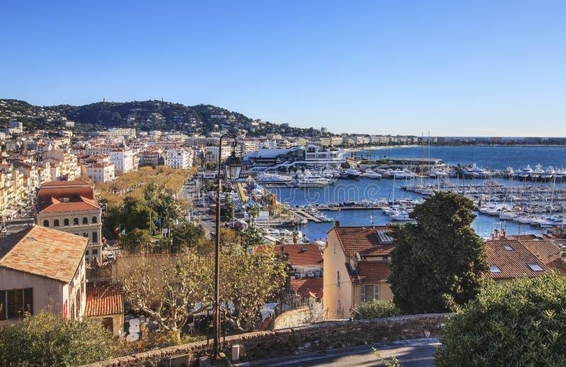 Πανοραμική άποψη της πόλης των Καννών, Γαλλία στοκ εικόνα με δικαίωμα ελεύθερης χρήσης