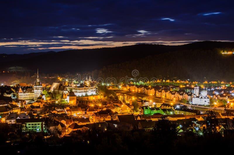 Πανοραμική άποψη της πόλης Sighisoara, Τρανσυλβανία, νομός Mures, Ρουμανία στοκ φωτογραφία με δικαίωμα ελεύθερης χρήσης