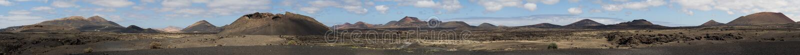 Πανοραμική άποψη του ηφαιστειακού Κανάριου νησιού Lanzarote τομέων στοκ εικόνες
