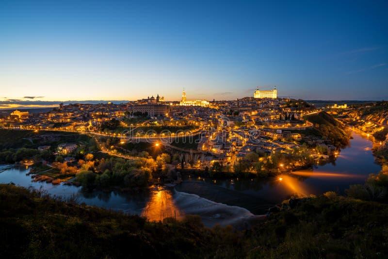 Πανοραμική άποψη του μεσαιωνικού κέντρου της πόλης του Τολέδο, SPA στοκ εικόνα