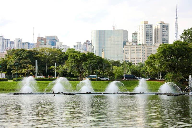 Πανοραμική άποψη του πάρκου Ibirapuera με τη εικονική παράσταση πόλης του Σάο Πάολο, Βραζιλία στοκ εικόνα