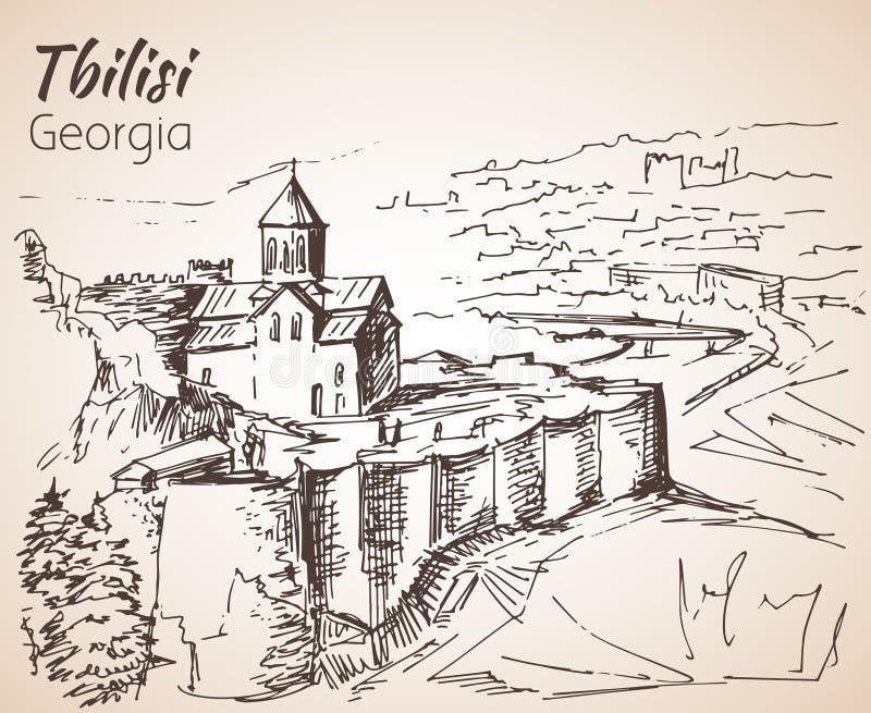 Πανοραμική άποψη του παλαιού Tbilisi, Γεωργία διανυσματική απεικόνιση