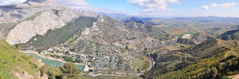 Πανοραμική άποψη του σημείου EL Chorro, Ισπανία στοκ εικόνα με δικαίωμα ελεύθερης χρήσης
