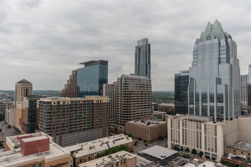 Πανοραμική άποψη του στο κέντρο της πόλης Ώστιν, Τέξας, στην άνοιξη στοκ εικόνα