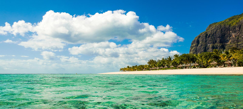 Πανοραμική άποψη του τοπίου νησιών του Μαυρίκιου στοκ εικόνες