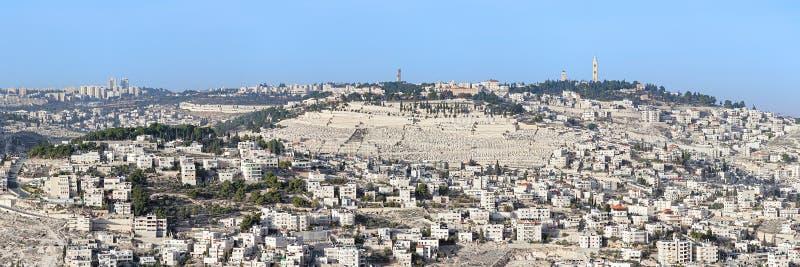 Πανοραμική άποψη του υποστηρίγματος των ελιών στην Ιερουσαλήμ, Ισραήλ στοκ εικόνες