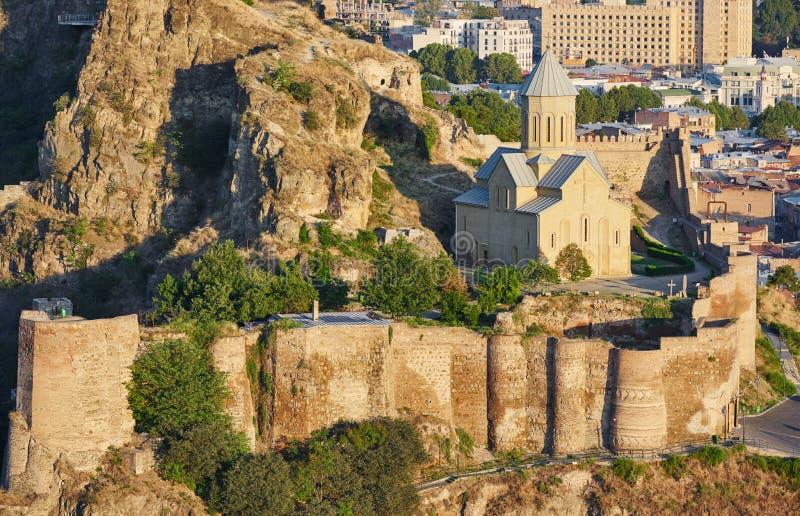 Πανοραμική άποψη του Tbilisi στη Γεωργία, ακρόπολη Narikala στοκ φωτογραφία με δικαίωμα ελεύθερης χρήσης