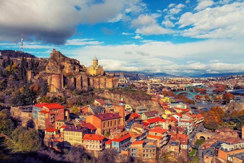 Πανοραμική άποψη του Tbilisi στο ηλιοβασίλεμα στοκ εικόνες
