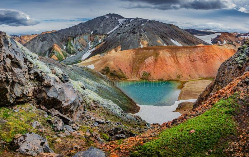 Πανοραμική άποψη των ζωηρόχρωμων rhyolite ηφαιστειακών βουνών Landmannalaugar ως καθαρή αγριότητα στην Ισλανδία και μια κρυμμένη  στοκ φωτογραφίες