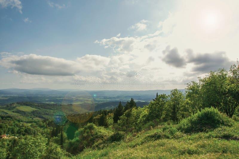 Πανοραμική άποψη των τομέων, των λόφων και των δέντρων στο ηλιοβασίλεμα στη Tuscan επαρχία στοκ εικόνες