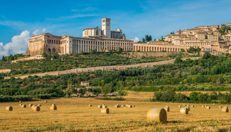 Πανοραμική άποψη Assisi, στην επαρχία της Περούτζια, στην περιοχή της Ουμβρίας της Ιταλίας στοκ φωτογραφία