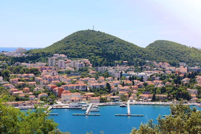 Πανοραμική άποψη Dubrovnik με το λιμάνι, Κροατία, Ευρώπη στοκ φωτογραφία με δικαίωμα ελεύθερης χρήσης