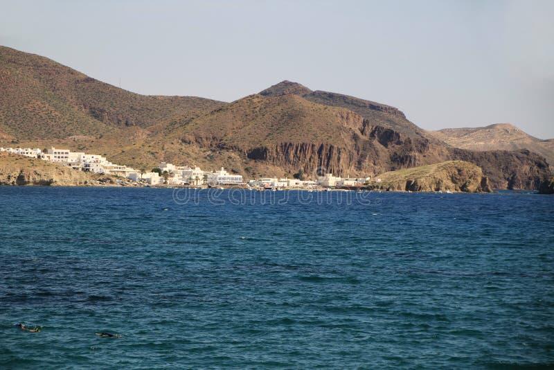 Πανοραμική άποψη Isleta del Moro σε Cabo de Gata στοκ εικόνες με δικαίωμα ελεύθερης χρήσης