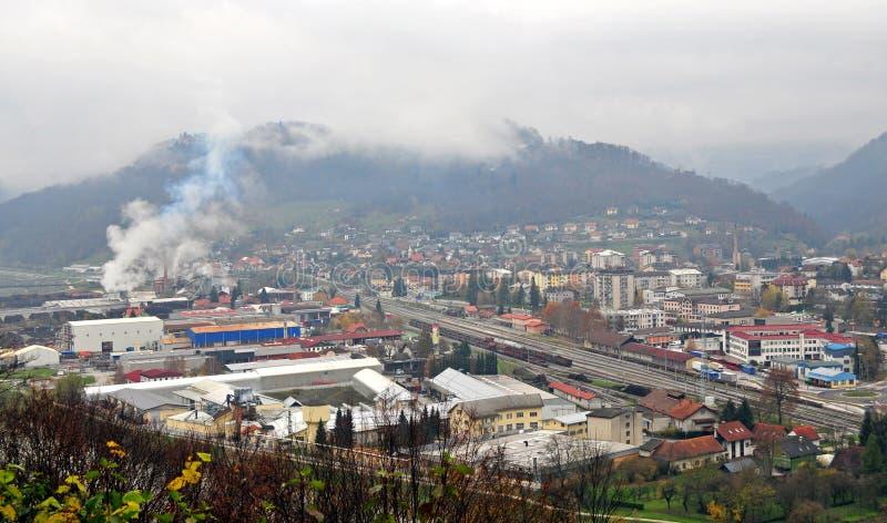 Πανοραμική άποψη Sevnica, Σλοβενία, πόλη παιδικής ηλικίας της Melania Trump στοκ εικόνα με δικαίωμα ελεύθερης χρήσης