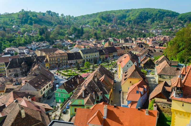 Πανοραμική άποψη Sighisoara, μεσαιωνική πόλη της Τρανσυλβανίας, Ρουμανία, Ευρώπη στοκ φωτογραφίες με δικαίωμα ελεύθερης χρήσης