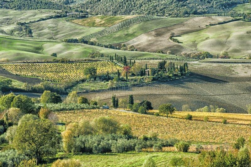 Πανοραμική άποψη Val Di Chiana, μια αλλούβια κοιλάδα της κεντρικής Ιταλίας, Τοσκάνη στοκ εικόνες με δικαίωμα ελεύθερης χρήσης