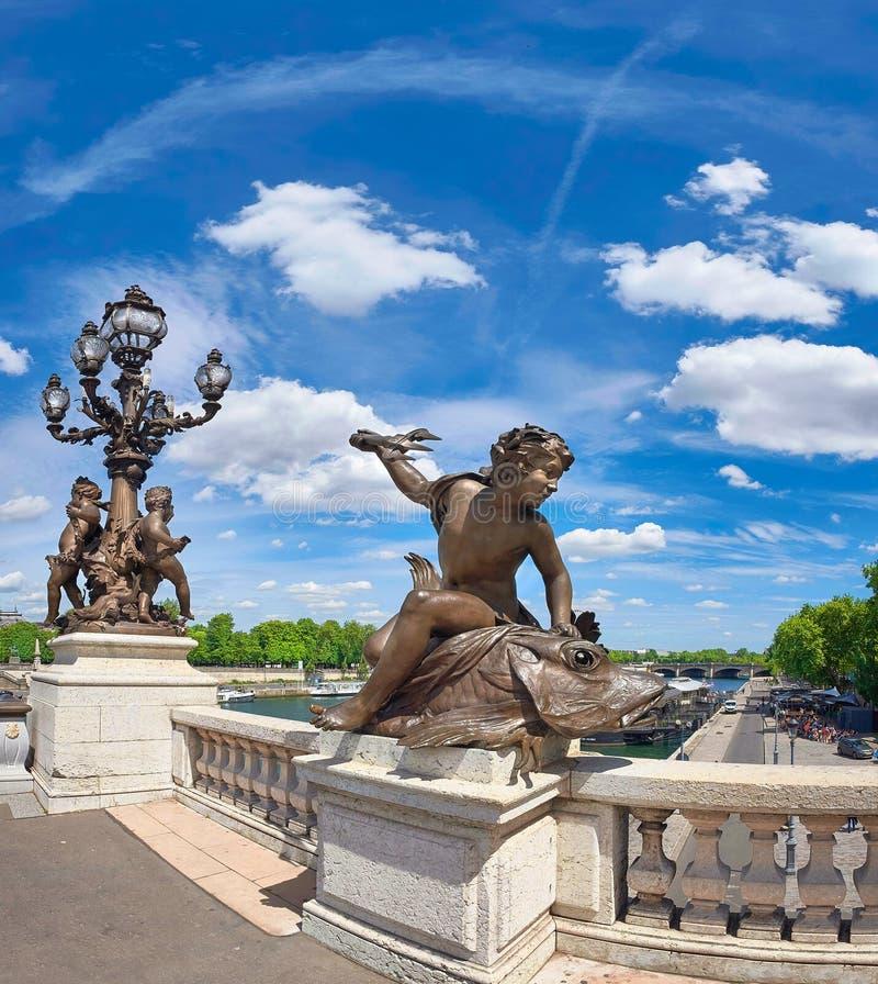 Πανοραμική εικόνα της γέφυρας Pont Alexandre ΙΙΙ στο Παρίσι στοκ φωτογραφία