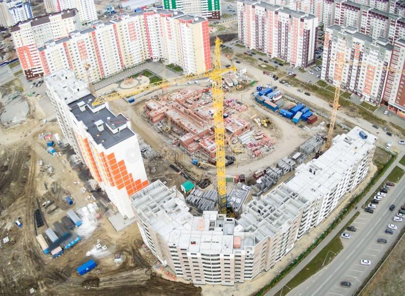 Πανοραμική θέα στο εργοτάξιο οικοδομής σε Tyumen στοκ φωτογραφία