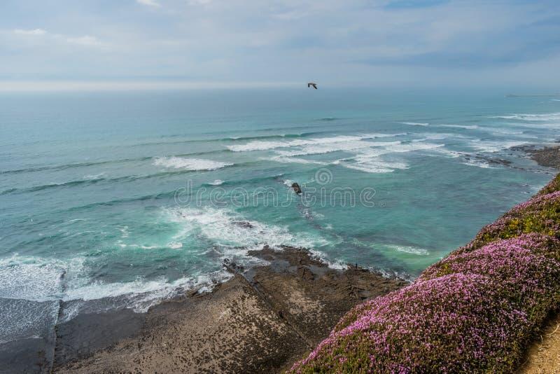 Πανοραμική και εναέρια άποψη του τοπίου της πορτογαλικής ακτής, παραλία Carvoeira - Ericeira, Μάφρα ΠΟΡΤΟΓΑΛΙΑ στοκ φωτογραφία