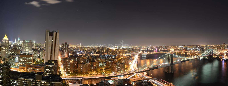 Πανοραμική Νέα Υόρκη τη νύχτα στοκ φωτογραφία με δικαίωμα ελεύθερης χρήσης