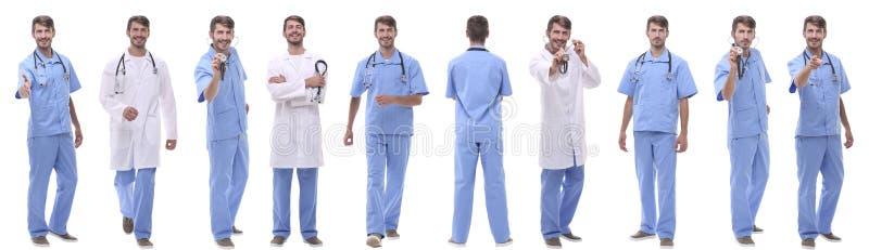 Πανοραμική ομάδα κολάζ ιατρών Απομονωμένος στο λευκό στοκ εικόνες με δικαίωμα ελεύθερης χρήσης