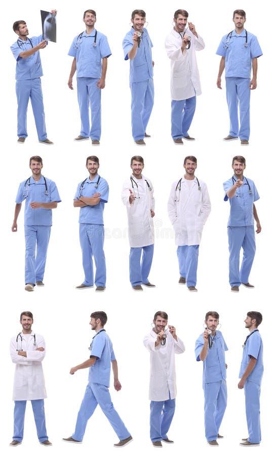 Πανοραμική ομάδα κολάζ ιατρών Απομονωμένος στο λευκό στοκ εικόνες