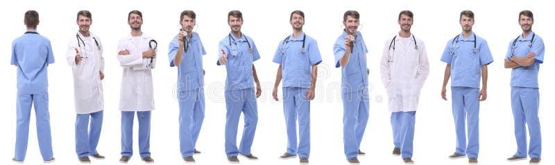Πανοραμική ομάδα κολάζ ιατρών Απομονωμένος στο λευκό στοκ εικόνα με δικαίωμα ελεύθερης χρήσης