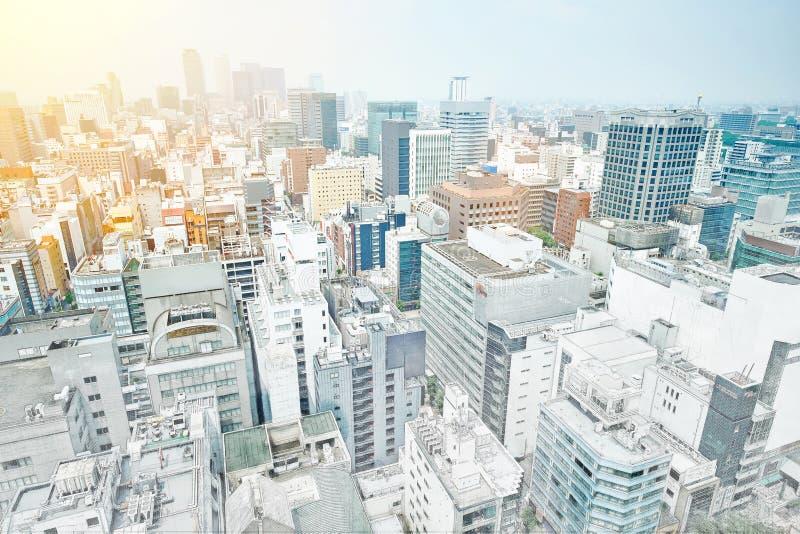 Πανοραμική σύγχρονη άποψη οικοδόμησης εικονικής παράστασης πόλης του Νάγκουα, Ιαπωνία Συρμένη απεικόνιση σκίτσων μιγμάτων χέρι ελεύθερη απεικόνιση δικαιώματος