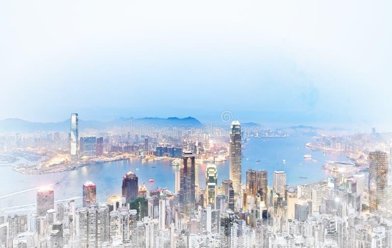 Πανοραμική σύγχρονη άποψη οικοδόμησης εικονικής παράστασης πόλης συρμένης απεικόνισης σκίτσων μιγμάτων Χονγκ Κονγκ της χέρι απεικόνιση αποθεμάτων