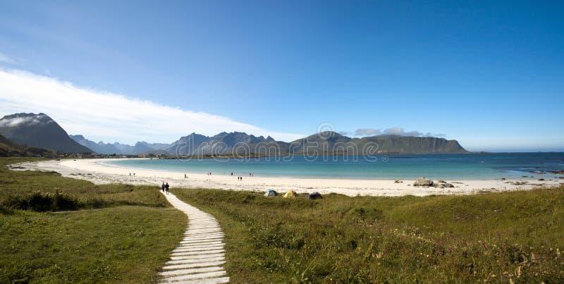 Πανοραμική φωτογραφία της παραλίας Ramberg, νησί Lofoten, Νορβηγία στοκ εικόνα με δικαίωμα ελεύθερης χρήσης