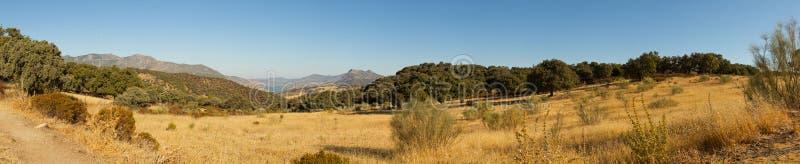 Πανοραμική φωτογραφία τοπίων της οροσειράς de Grazalema. στοκ εικόνες