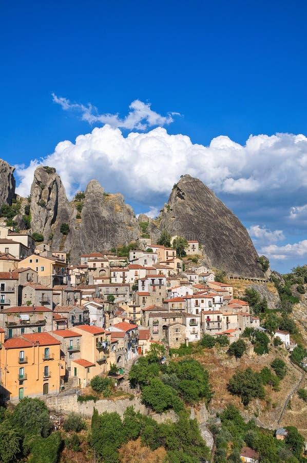 πανοραμική όψη της Ιταλίας castelmezzano του Βασιλικάτα στοκ εικόνες