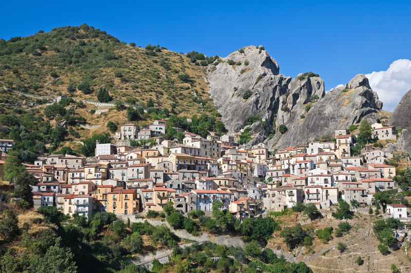 Πανοραμική όψη Castelmezzano. Βασιλικάτα. Ιταλία στοκ εικόνες