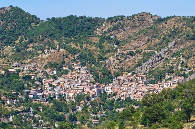 Πανοραμική όψη Castelmezzano. Βασιλικάτα. Ιταλία στοκ φωτογραφία