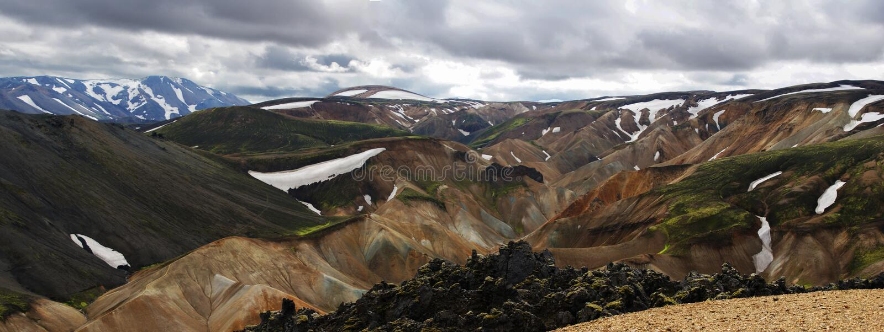 Πανοραμικός των θαυμάσιων ζωηρόχρωμων ηφαιστειακών βουνών στο πάρκο Landmannalaugar Ισλανδία κοιλάδων στο θερινό χρόνο στοκ εικόνα με δικαίωμα ελεύθερης χρήσης
