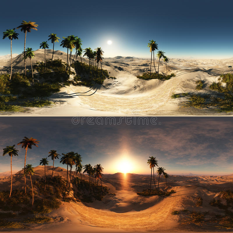 Πανοραμικός των φοινικών στην έρημο γίνοντας με έναν 360 βαθμός lense στοκ φωτογραφία με δικαίωμα ελεύθερης χρήσης