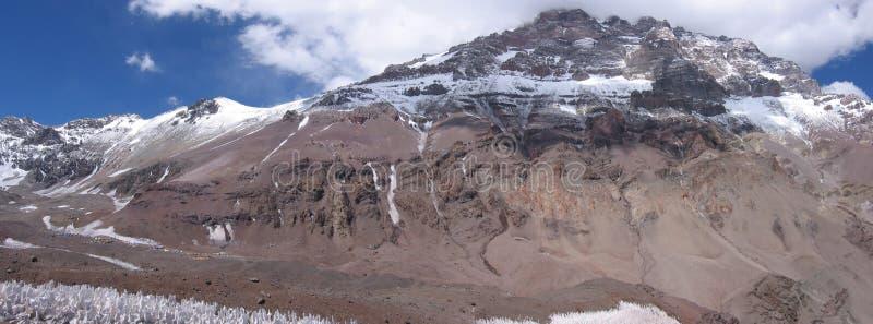 Πανοραμικό βουνό Aconcagua άποψης, δυτικό πρόσωπο, Αργεντινή στοκ φωτογραφίες με δικαίωμα ελεύθερης χρήσης