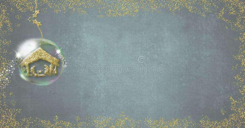 Πανοραμικό σχήμα σκηνής Nativity καρτών Χριστουγέννων απεικόνιση αποθεμάτων