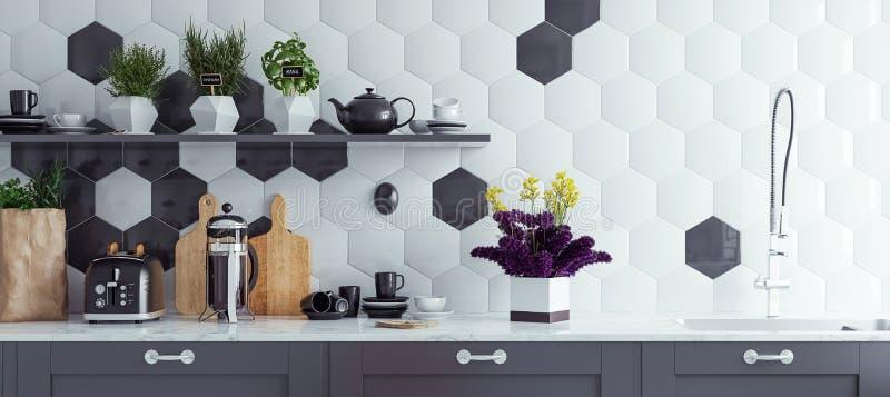 Πανοραμικό σύγχρονο εσωτερικό υπόβαθρο κουζινών στοκ εικόνα