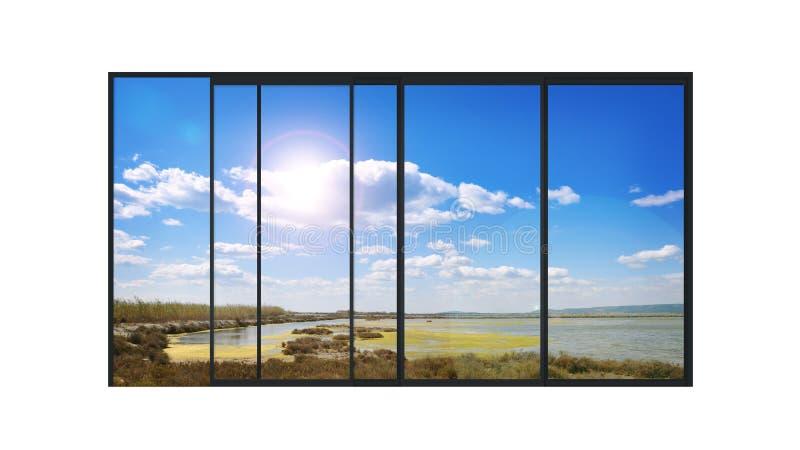 Πανοραμικό σύγχρονο παράθυρο με ένα τοπίο λιμνών ελεύθερη απεικόνιση δικαιώματος