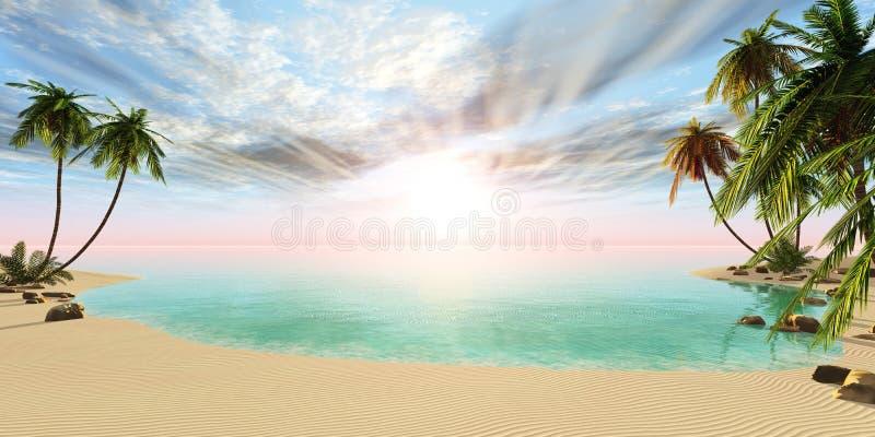 Πανοραμικό τοπίο της τροπικής παραλίας με τους φοίνικες ελεύθερη απεικόνιση δικαιώματος