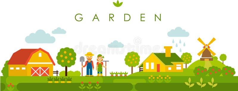 Πανοραμικό υπόβαθρο τοπίων αγροτικών κήπων στο επίπεδο ύφος διανυσματική απεικόνιση