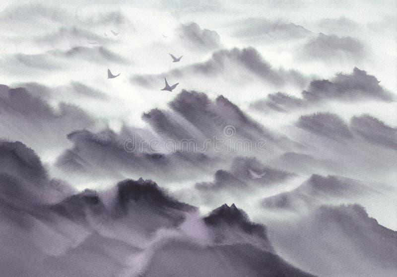 Πανοραμικό υπόβαθρο watercolor τοπίων βουνών Το χέρι χρωμάτισε το γκρίζο σκίτσο στοκ φωτογραφία