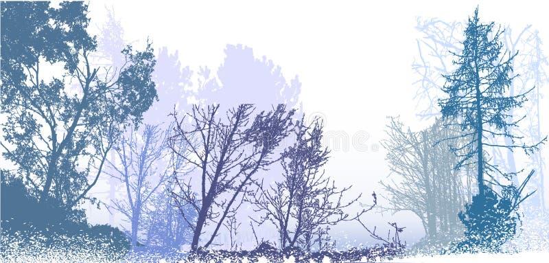 Πανοραμικό χειμερινό δασικό τοπίο με τις σκιαγραφίες των χιονωδών δέντρων, των εγκαταστάσεων και των Μπους διανυσματική απεικόνιση