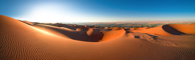 Πανοραμικό Al Khali, Αμπού Ντάμπι, ο Ιαν. τριψίματος ` ερήμων άποψης 2018 στοκ φωτογραφία