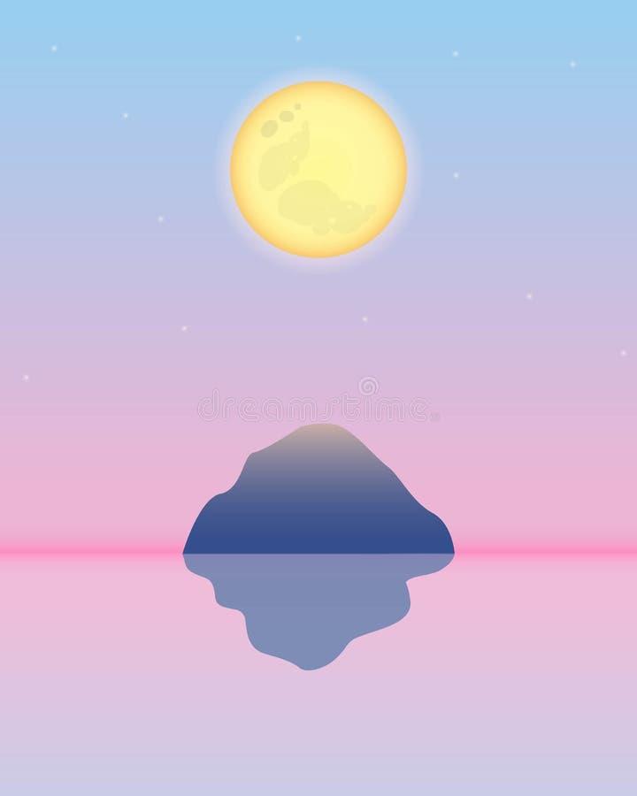 Πανσέληνος κίτρινη στο ρόδινο ουρανό με το βουνό και η αντανάκλασή του στο νερό ελεύθερη απεικόνιση δικαιώματος