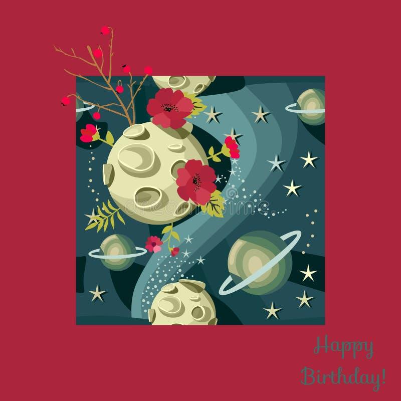 Πανσέληνος με τους κρατήρες, αστέρια πλανητών στο νυχτερινό ουρανό Χρόνια πολλά ευχετήρια κάρτα στο κόκκινο πλαίσιο διανυσματική απεικόνιση