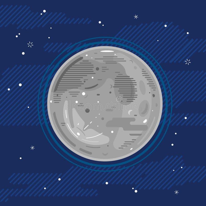 Πανσέληνος στο διάστημα στο επίπεδο ύφος απεικόνιση αποθεμάτων