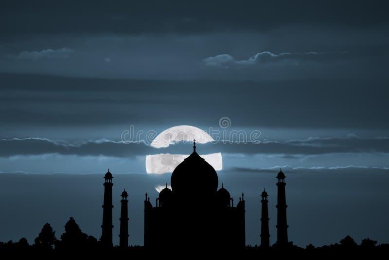 Πανσέληνος Mahal Taj στοκ εικόνα